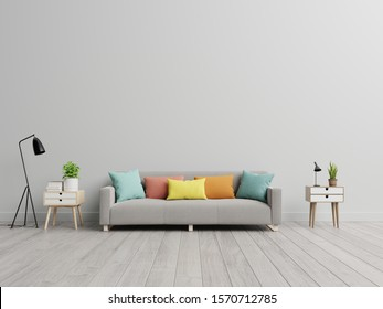 Empty living room with sofa in simple living room interior.3d rendering