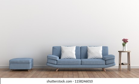 Empty living room with white wall and light blue sofa, Pink Roses In White Vase, Minimal Rustic,3D Rendering