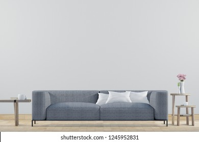 Empty living room with white wall and Light gray sofa, Minimal Rustic,3D Rendering