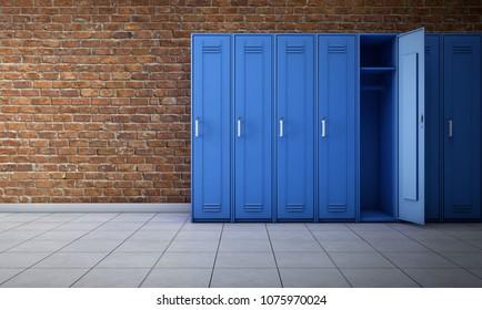 Empty locker room interior. 3d rendering