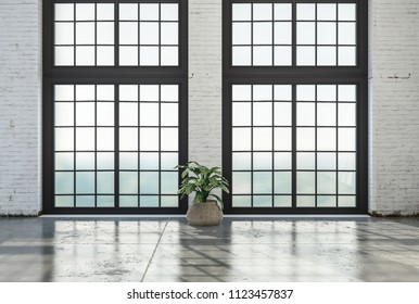 Empty loft room interior with huge floor-to-ceiling windows and stone floor. 3d Rendering