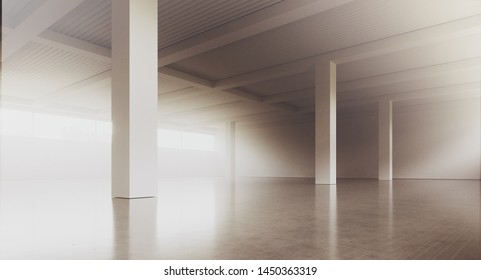Empty loft style office building corridor with white concrete walls and floor. Concept of interior design and architecture. 3d rendering.