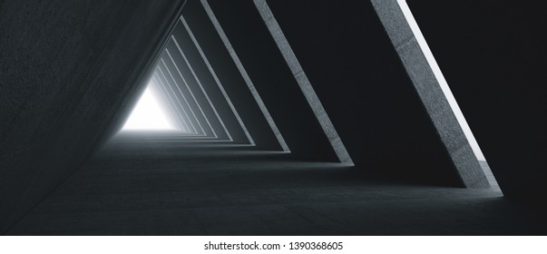 Empty Long Light Corridor. Modern concrete background. Futuristic Sci-Fi Triangle Tunnel. 3D Rendering