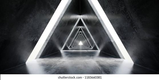Empty Long Light Polished Concrete Modern Sci-Fi Futuristic Triangle Shaped Construction Tunnel Corridor 3D Rendering Illustration