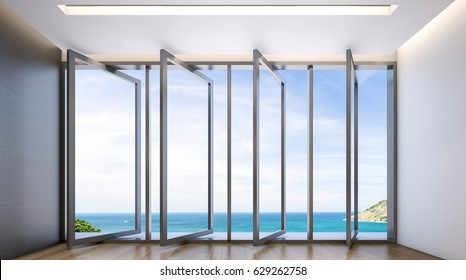 Empty lounge area with large windows and view of sea , 3d rendering