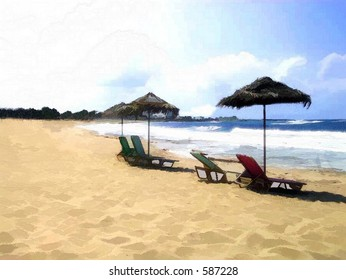 Empty lounge chairs with sun umbrellas on a beach