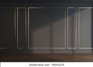 Empty luxury room interior with black and gold walls, a dark wooden floor and a dark ceiling. 3d rendering mock up