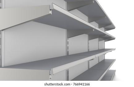 Empty mall shelf ready for customization. 3D rendering