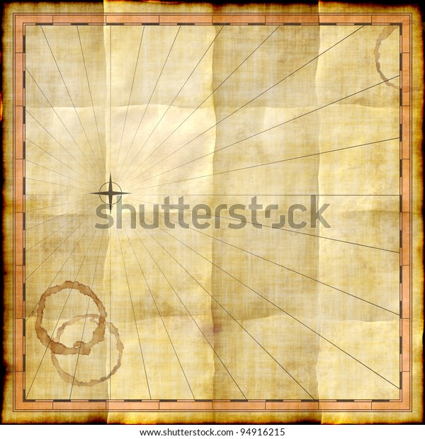 Empty Map Template On Old Paper Stock Illustration 94916215