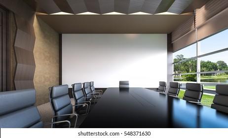 An empty meeting room / 3D Rendering