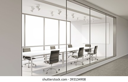 Empty meeting room in office. Corridor view. Concept of business meeting. Mock up. 3D render.