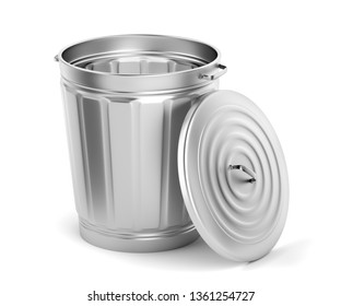 Empty metal bin with lid on white background, 3D illustration