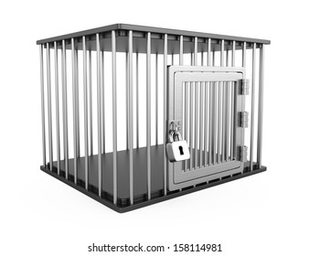 empty metal cage isolated on white background. 3d render