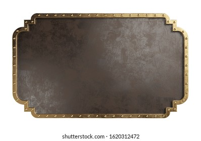Empty metal plate with brass border, isolated on a white background. Steampunk style. Clipping path included. 3d illustration