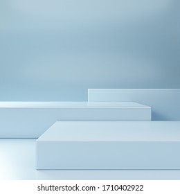 Empty minimal blue podium for product presentation. Empty showcase. Blank template for advertise. 3d render illustration