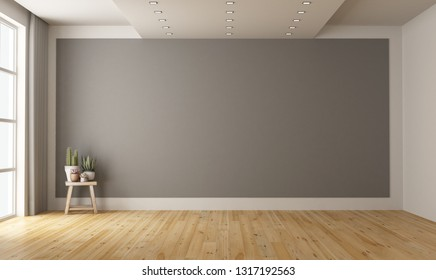 Empty minimalist room with gray wall on background and plant on wooden stool - 3d rendering