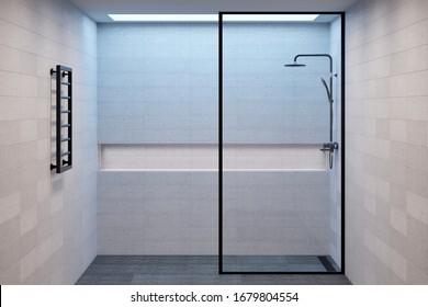 Leeres minimalistisches Duschbad mit Deckenfenster, Nische für Badezubehör und Handtuchwärmer. Vorderseite. 3D-Darstellung