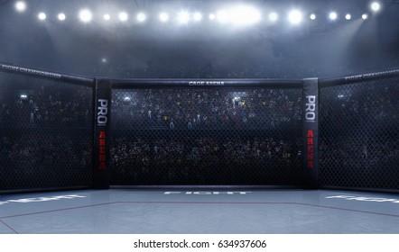 Empty mma arena side view under lights. complete tribune. 3D rendering