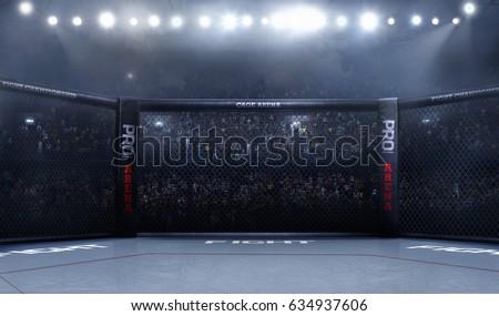 Empty mma arena side