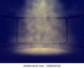 Empty MMA cage lit by single spotlight, 3d illustration