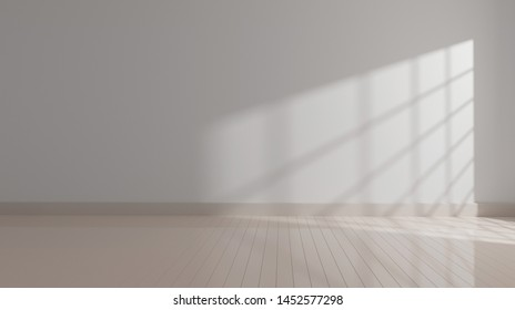 empty mock up room with window shadow light on white wall, 3d rendering.