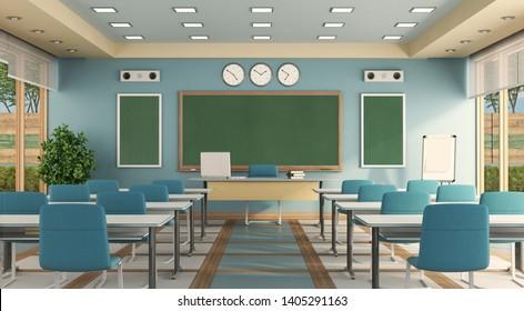 Empty modern classrom with teacher desk , school desk and blackboard - 3d rendering