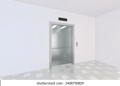 An empty modern elevator or lift with metal doors that are open. 3d rendering
