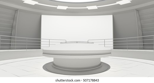 Empty modern futuristic room with white panel. 3D rendering