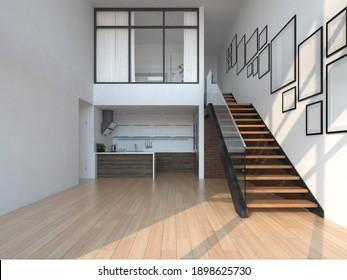 Empty modern interior room 3 d illustration