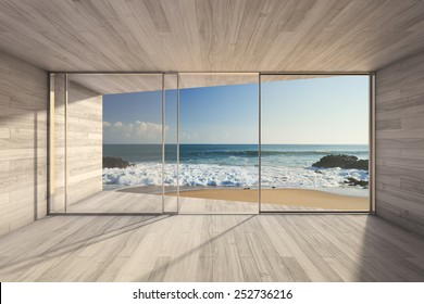 Empty modern lounge area with large bay window and view of sea. 3D render.