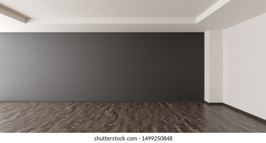 Empty modern room with dark grey walll  in the back and shiny brown wooden floor - home interieur decoration or gallery mock up or template with copy space - 3D illustration