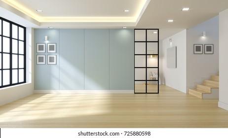 Empty modern  room interior ,blue wall and wood floor,3d render
