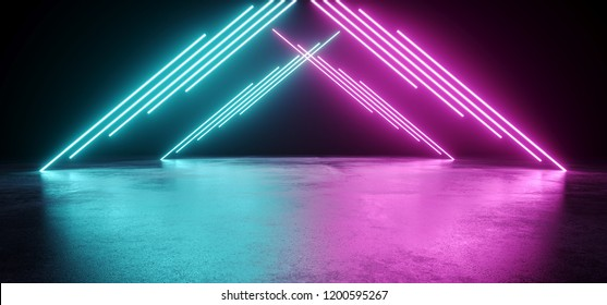Empty Modern Sci Fi Futuristic Dark Room With Reflection Grunge Concrete Floor And Blue Purple Neon Glowing Electric Tube Triangle Shapes Lights With Black Background 3D Rendering Illustration