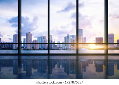 Empty modern spacious hall with concrete floor, big window with city view. 3D Rendering