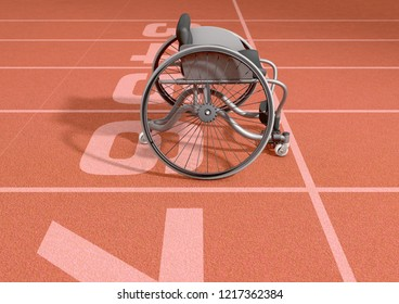 An empty modified wheelchair used by handicapped athletes to compete in various sporting codes on an orange marked athletics track background - 3D render