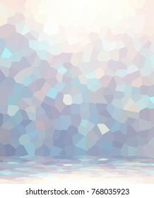 Empty mosaic room. Gleam glass background. Luxury wall texture. 3d illustration interior. Elite trend. Blue, beige glare geometric decor.