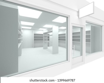 Empty new shop interior with shelving and clean signboard copy space, mock up design store interior, 3d render illustration.
