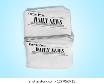 empty newspaper in stack 3d render on blue