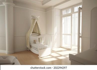 Empty nursery room with window and white crib