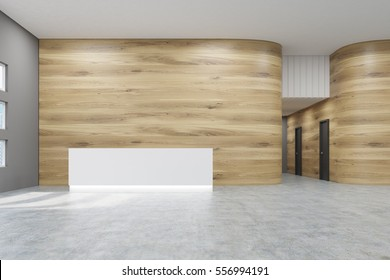 Empty office hall with wooden and gray walls and concrete floor. Concept of a modern company grounds. 3d rendering. Mock up.