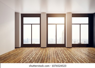 Empty office interior with panoramic city view and daylight. 3D Rendering