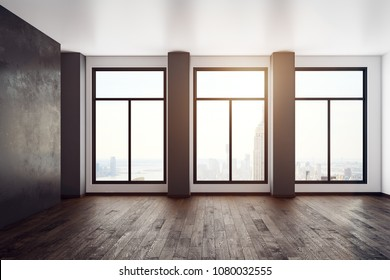 Empty office interior with panoramic city view and sunlight. 3D Rendering