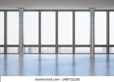 Empty office interior with panoramic window, new york city view and daylight. 3D Rendering