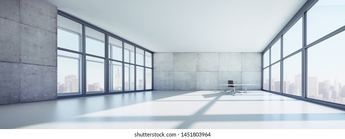 Empty office loft in high-rise building with a view at the skyline - 3D illustration