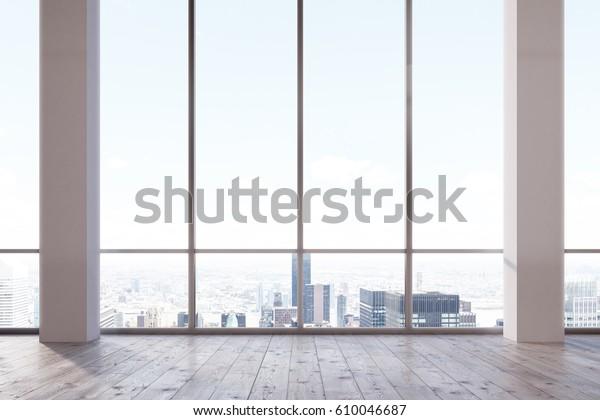 Leeres Büro mit Panoramafenster und Betonwand. Weiße Spalten. 3D-Darstellung.