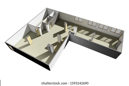 Empty office room planning above view. 3d render illustration.