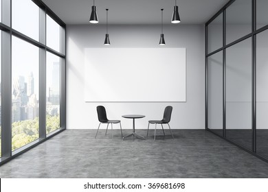 Empty office in a skyscraper, French window to the left, New York view, big white board on the white wall. A small black table and two black chairs at the wall, lamps above. Concept of talks.