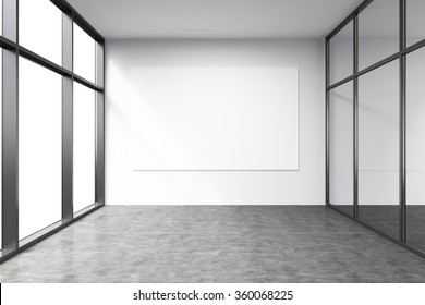 Empty office in a skyscraper, Panoramic windows to the left, big white board on the white wall.  Concept of work.