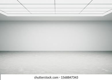 Empty office space with empty white wall and big window on ceiling. Mock up, 3D Rendering