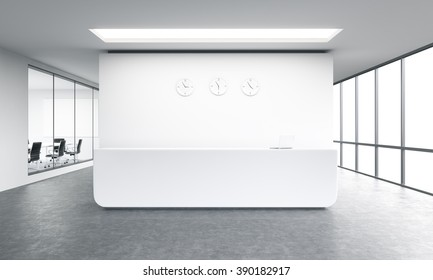 Empty office, white reception at white wall, three clocks on it. Panoramic window right, meeting room left. Concept of reception. 3D rendering